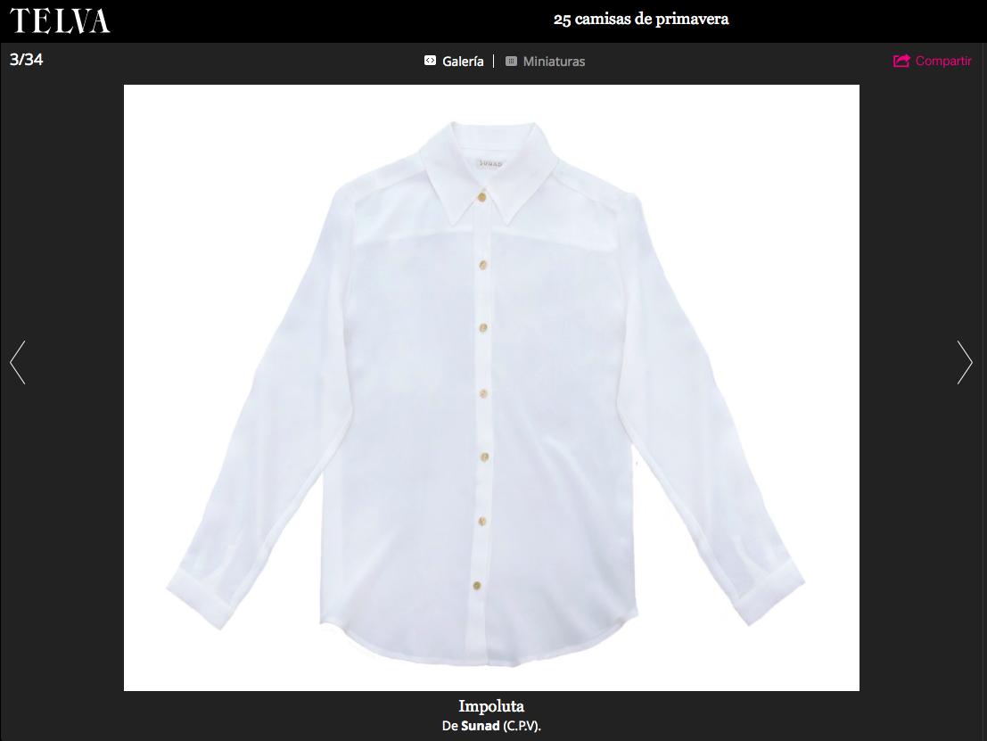 Our  Kalahari Stone White  picked by Telva as one of the shirts of the season.