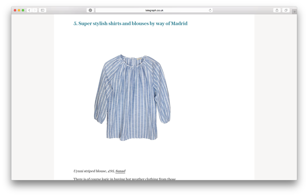 UK's Daily Telegraph Fashion picks Sunad as a brand for this summer, highlighting our  Uyuni Striped  shirt