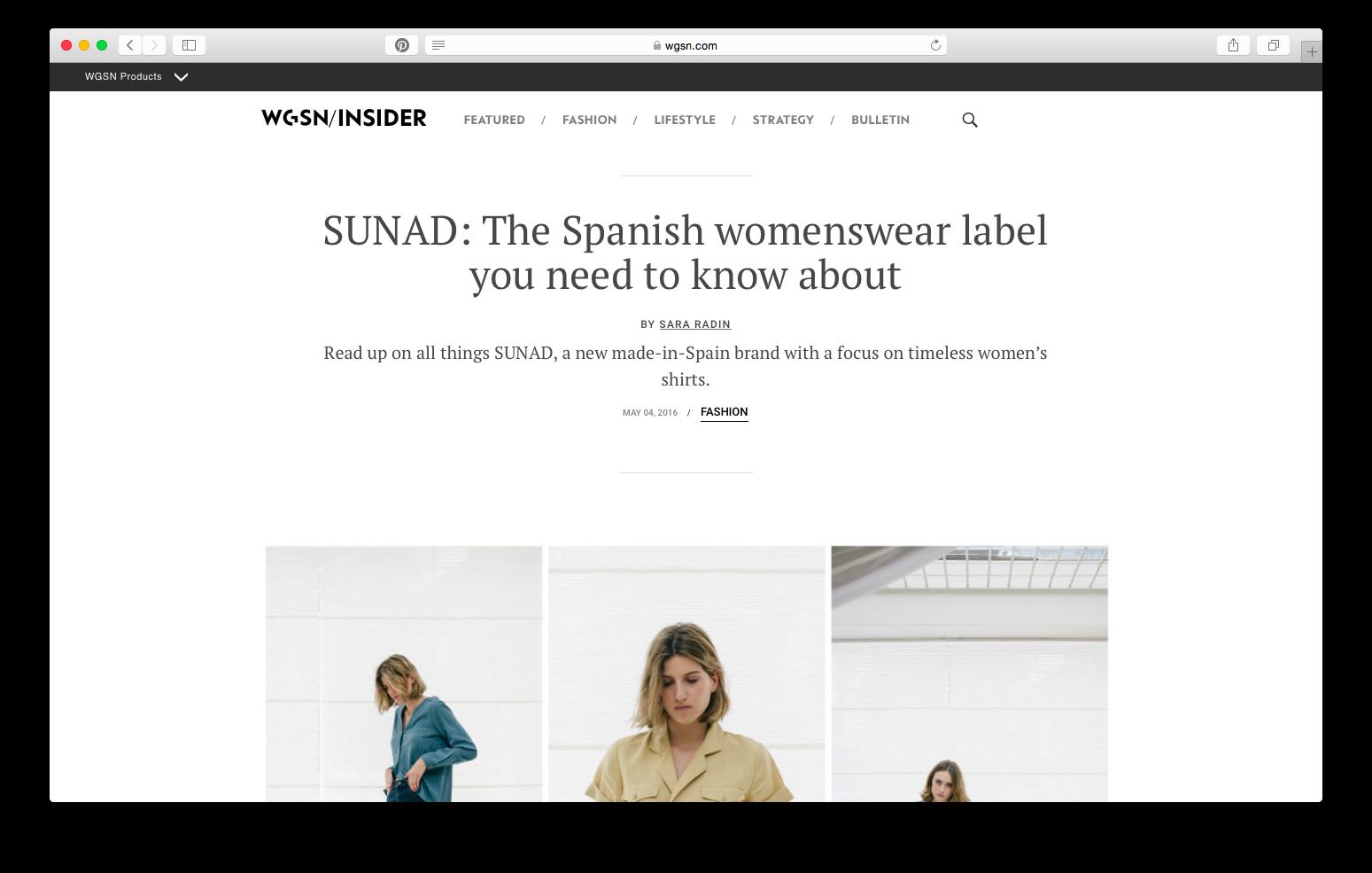 Designer profile in  WGSN Insider .