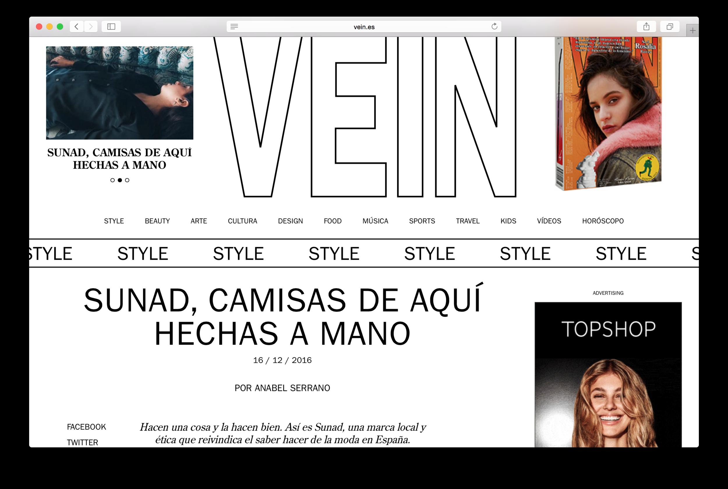 "Featured in   Vein Magazine   ""SUNAD, camisas de aquí hechas a mano"""