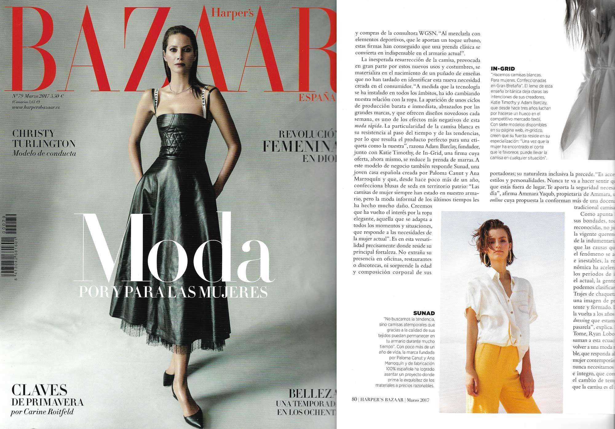"""Part of Sara Hernando's article """"Perfección Revisada"""" on Harper's Bazaar Spain March 2017 issue"""