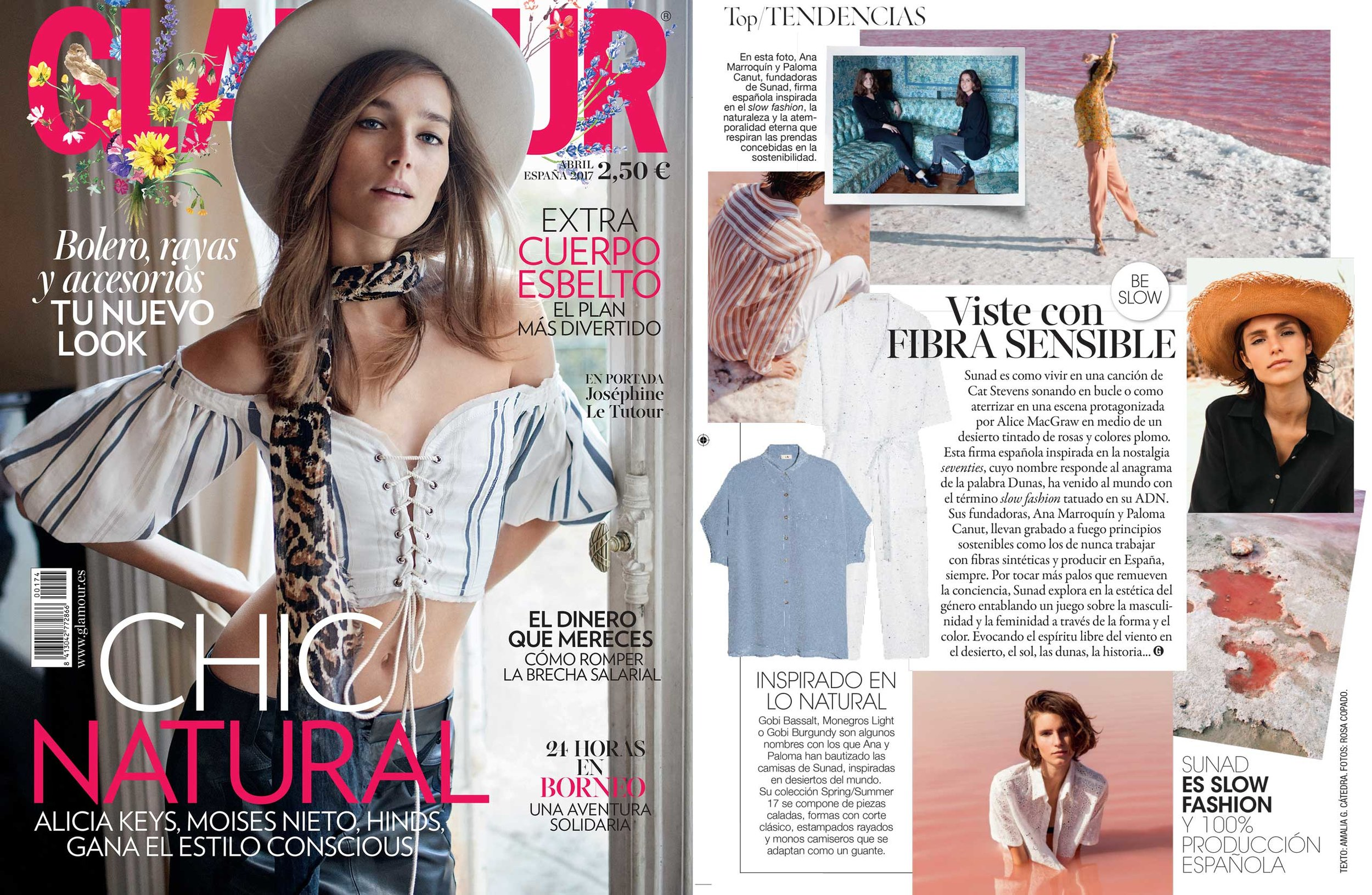 """Feature in Glamour Spain - """"Wear sensitive fibres"""" - April 2017 issue"""