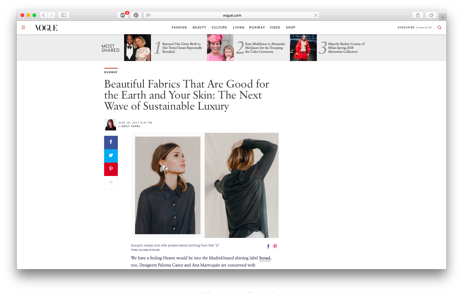 Our AW17 Kalahari Basalt made with 60% modal and 40% milk protein featured in  Vogue.com