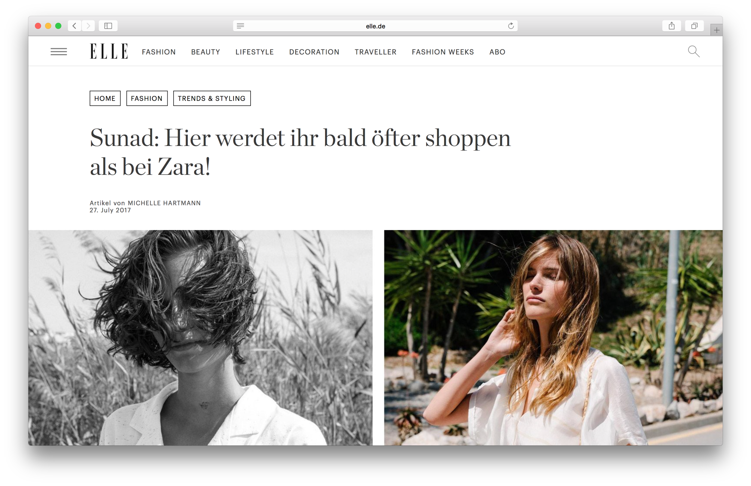 """Featured in Elle Germany -  """"Sunad: You will soon go shopping more often here, than at Zara!"""""""