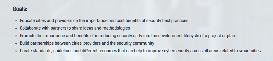 Source:Goals of the  Secure Smart Cities  initiative