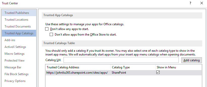 Add SharePoint App catalog to trust center