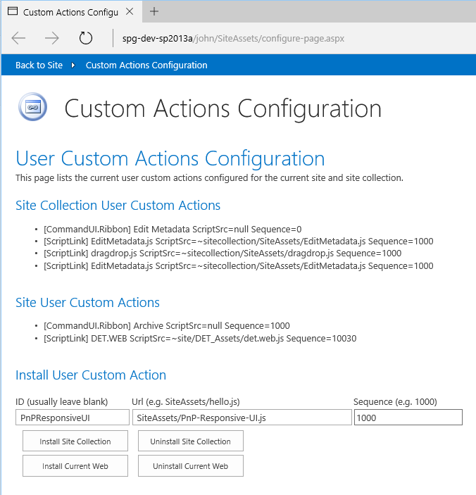 SP2013/2016 Responsive-UI and UserCustomActionsConfigPage — John Liu