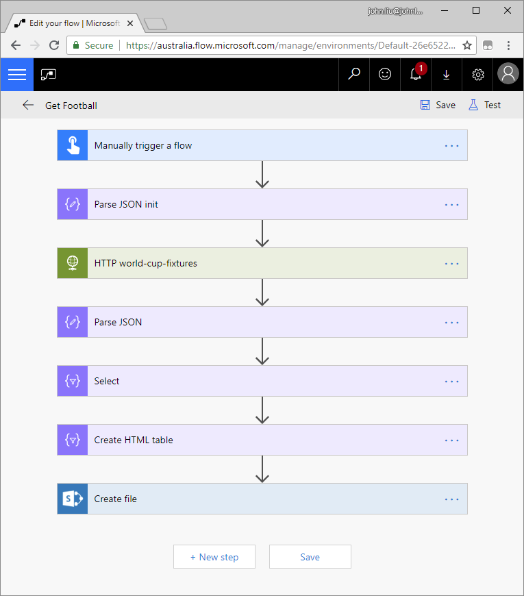 How to get live FIFA Worldcup results via Microsoft Flow into your
