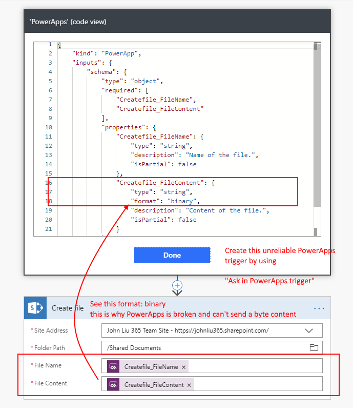 Upload Image from PowerApps to Flow to SharePoint via an Unused