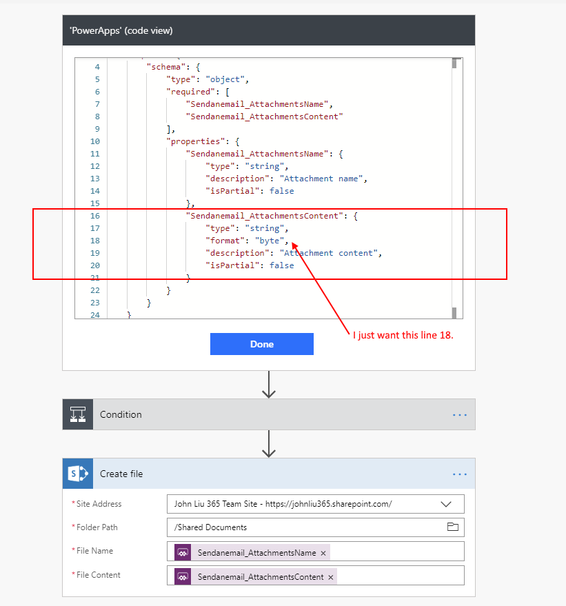 Upload Image from PowerApps to Flow to SharePoint via an