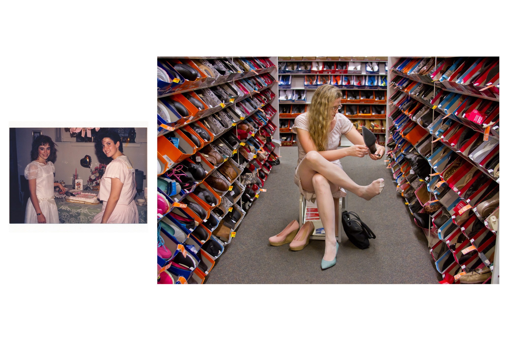 Jennifer (age 12), at a graduation party  Lorelei, at Payless Shoes / 2014