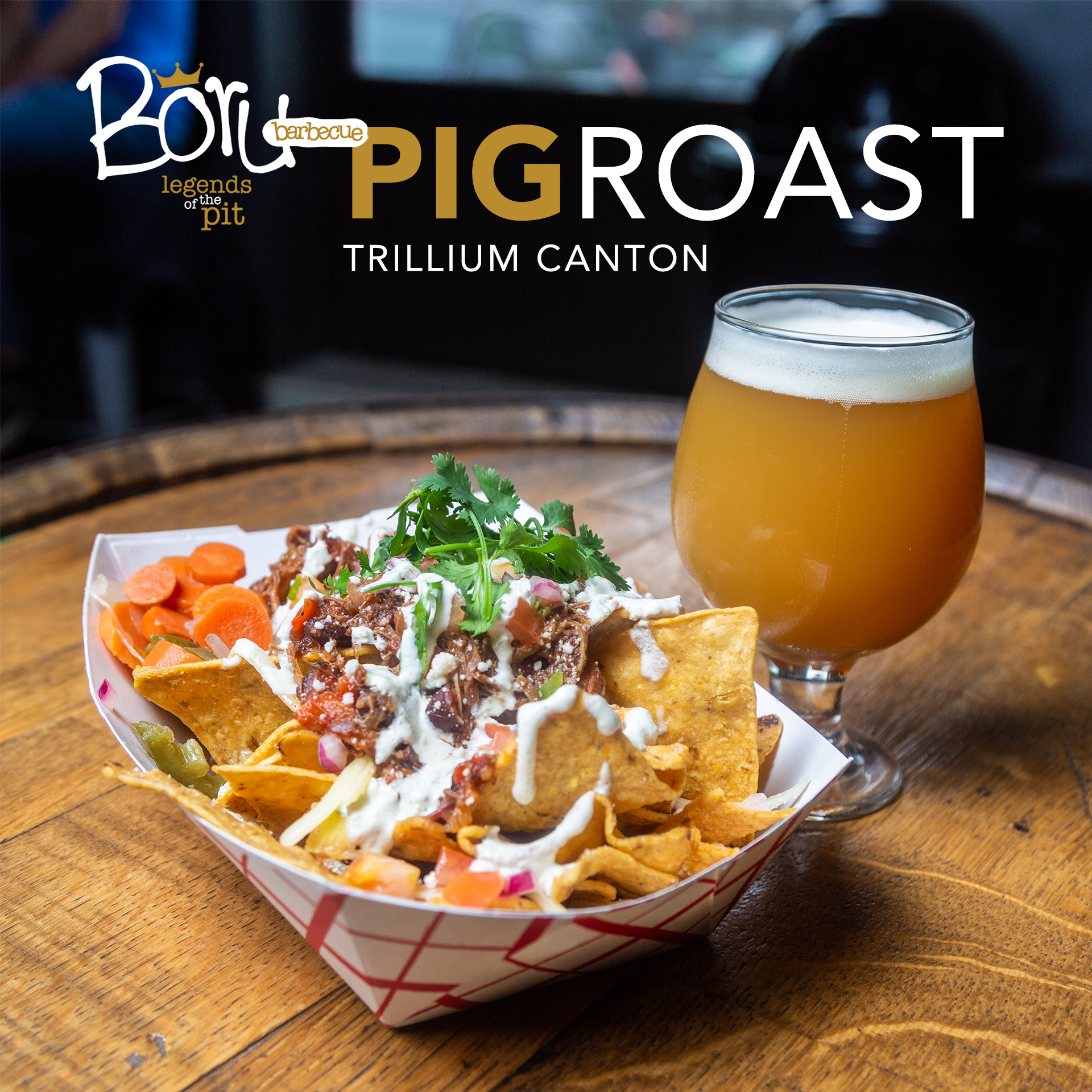 On Friday May 24th Padraic from Boru BBQ will be on the Canton patio smoking a whole pig to celebrate the warm weather and patio season! Boru will be here from 5-10pm, grab a beer and come hungry!  Their menu for the night:   Slow Smoked Whole Hog from Blackbird farm  Pulled pork served on a soft roll with tangy coleslaw, our signature pickles and barbecue sauce   Sides:   - Sweet Potato Salad  - Honey and Jalapeno Cornbread  - Coleslaw  - Garden Salad  - Condiment Bar  An assortment of BBQ sauces and pickles to customize your plate