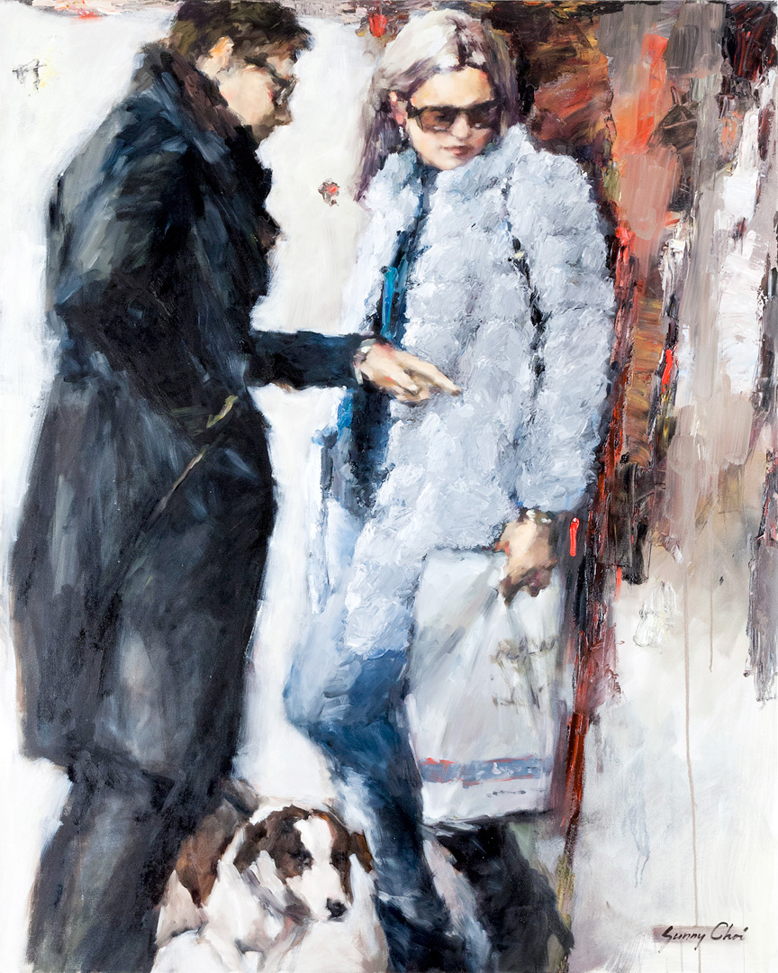 Couple Shopping - 60 x 48 inches, Oil and Acrylic on Canvas