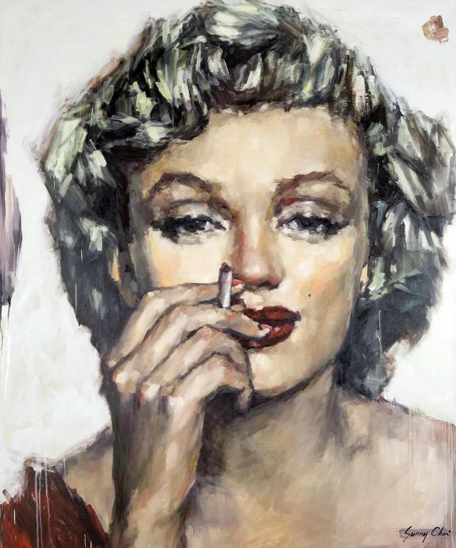 Marilyn with Cigarette - 60 x 60 inches, Oil and Acrylic on Canvas