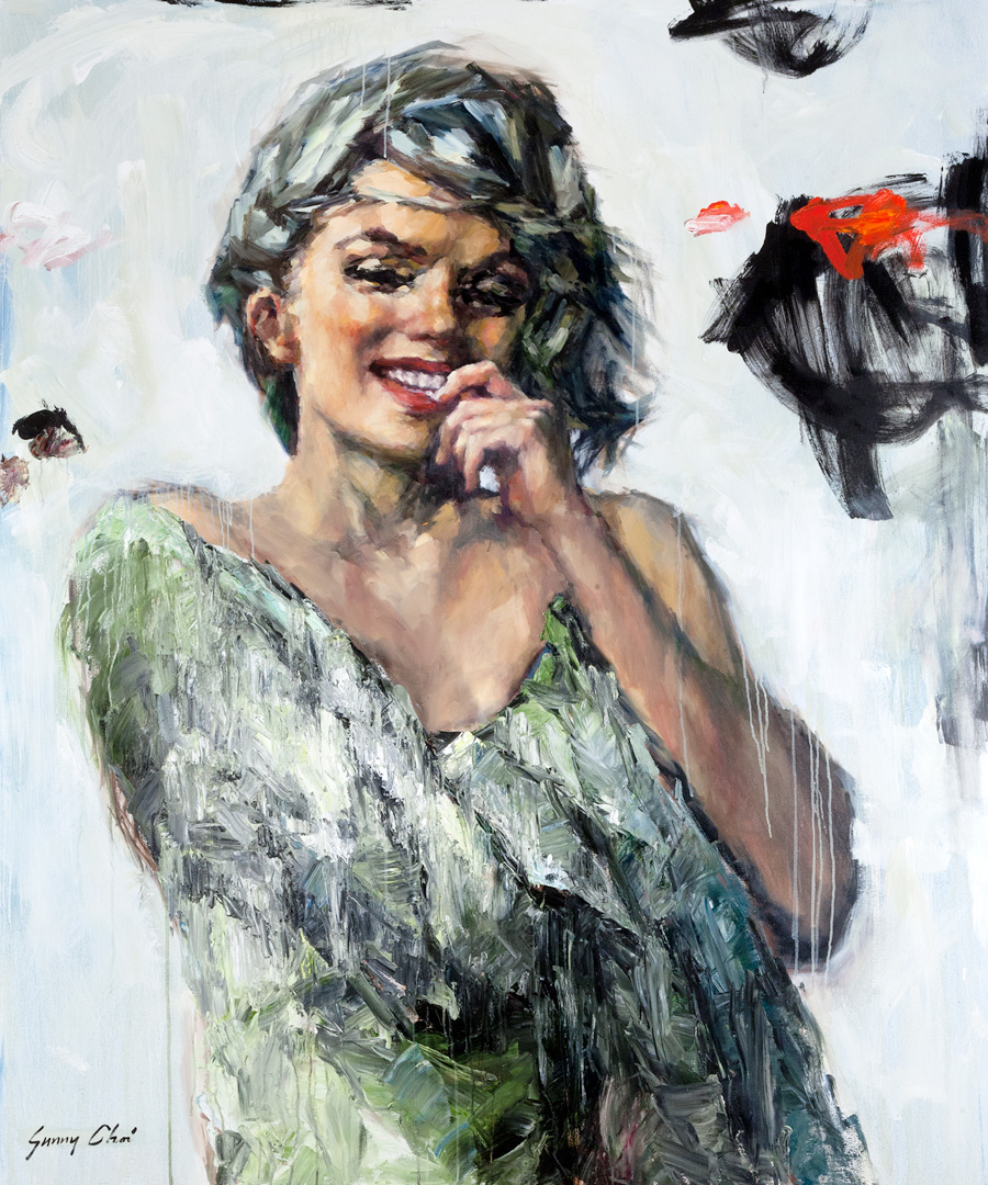 Marilyn wrapped in Green - 60 x 72 inches, Oil and Acrylic on Canvas
