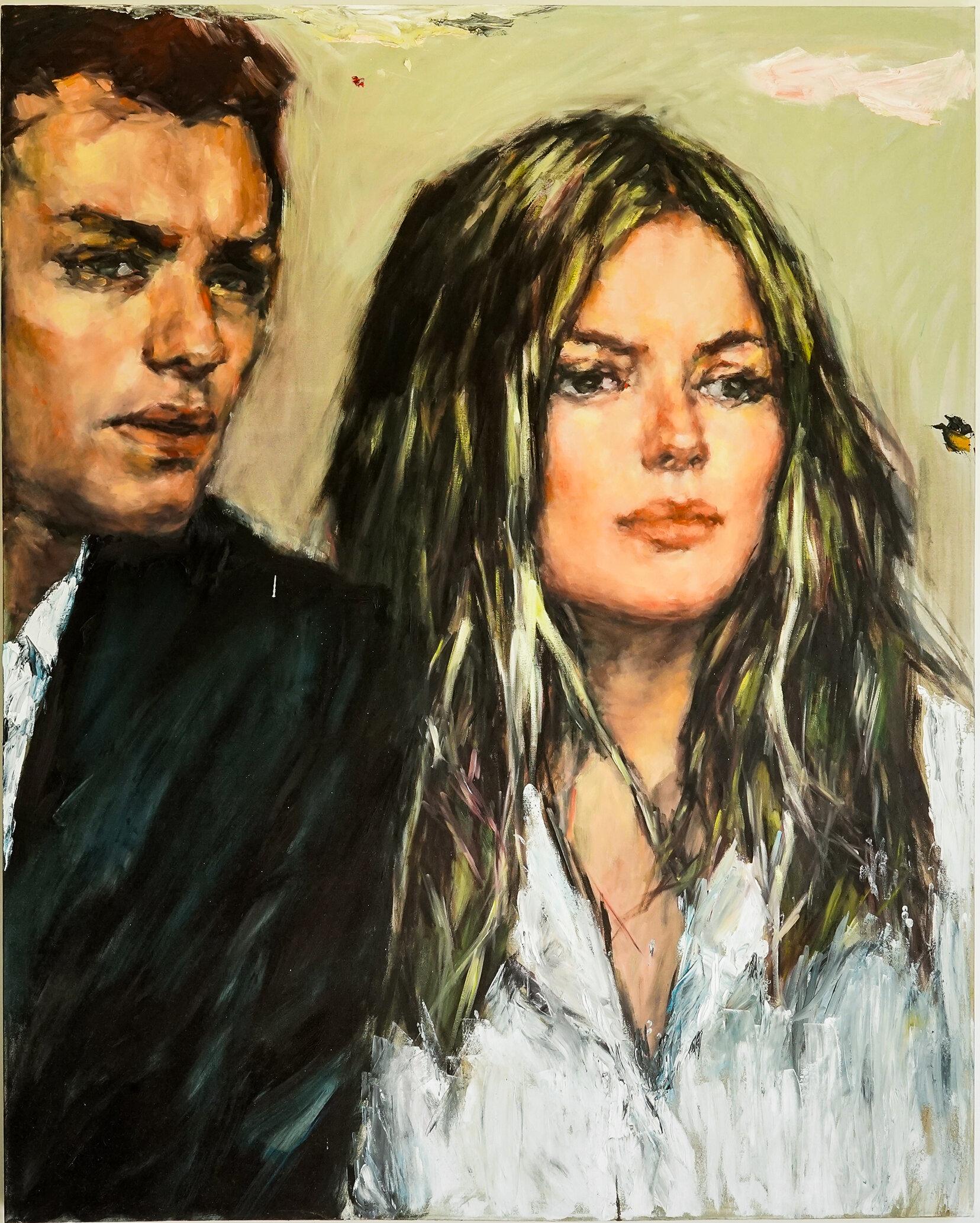 Couple A - 60 x 48, Oil and Acrylic on Canvas