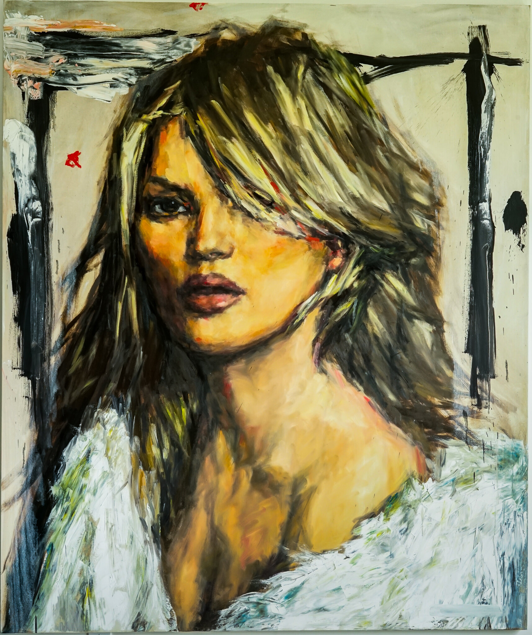 Kate in White Fur - 72 x 60, Oil and Acrylic on Canvas