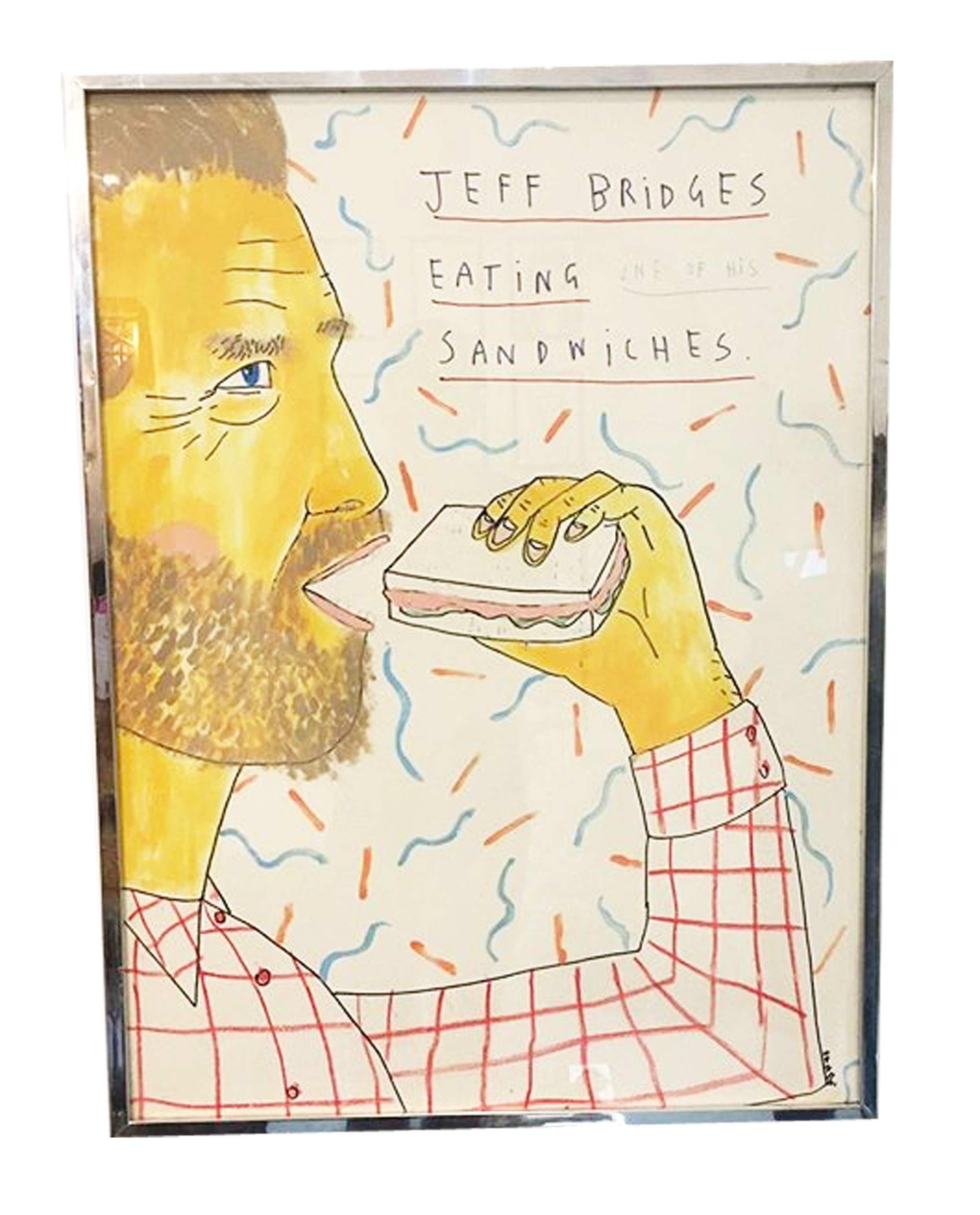 Jeff Bridge Eating a Sandwich, House paint, ink and colour pencils on paper, 76x57cm