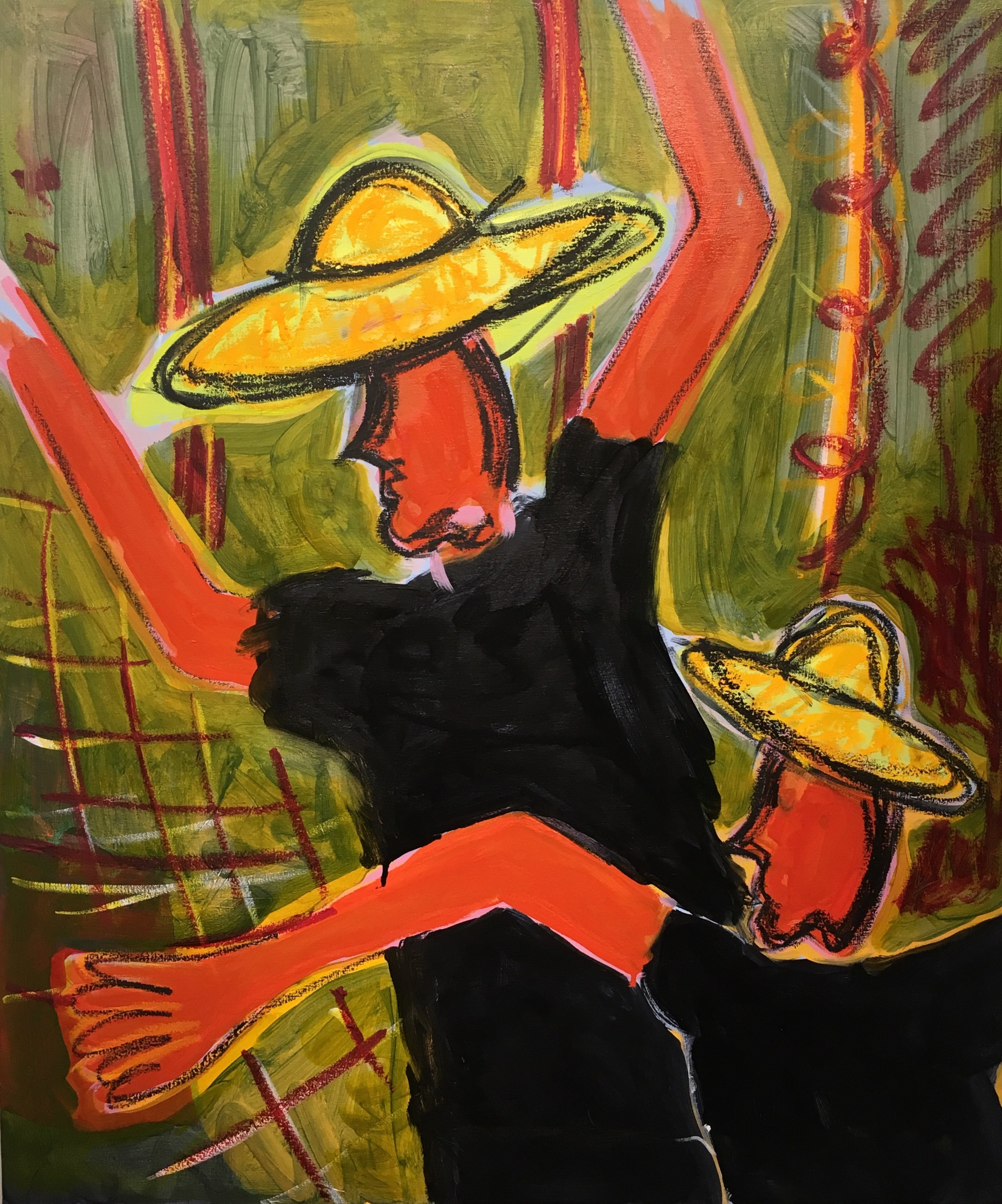 'Yellow Hat Men', acrylic on canvas, 77x91cm