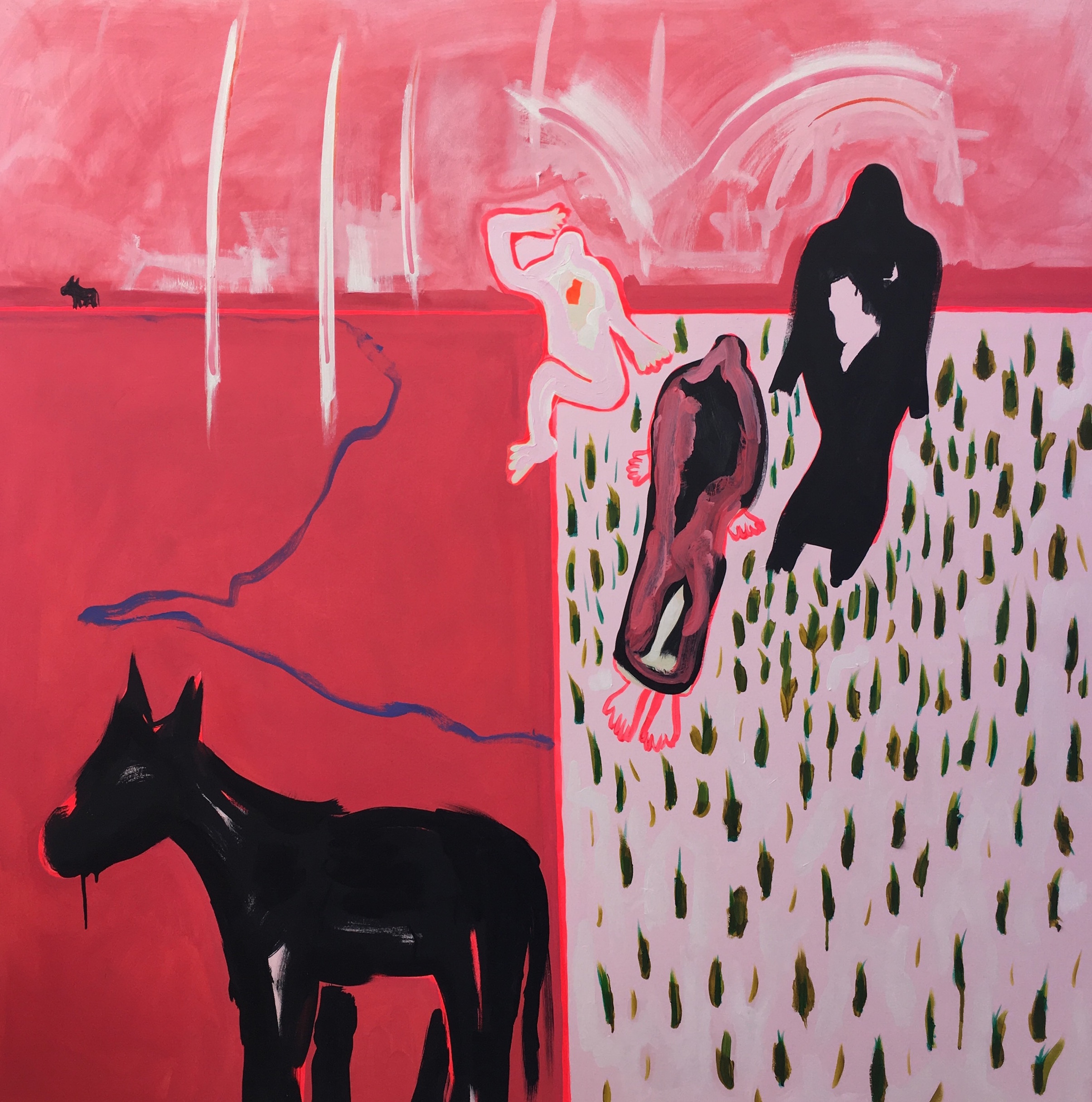 'The Grass isn't Always Greener on the Other-side, Sometimes It's Pink', Acrylic on canvas, 155x155cm