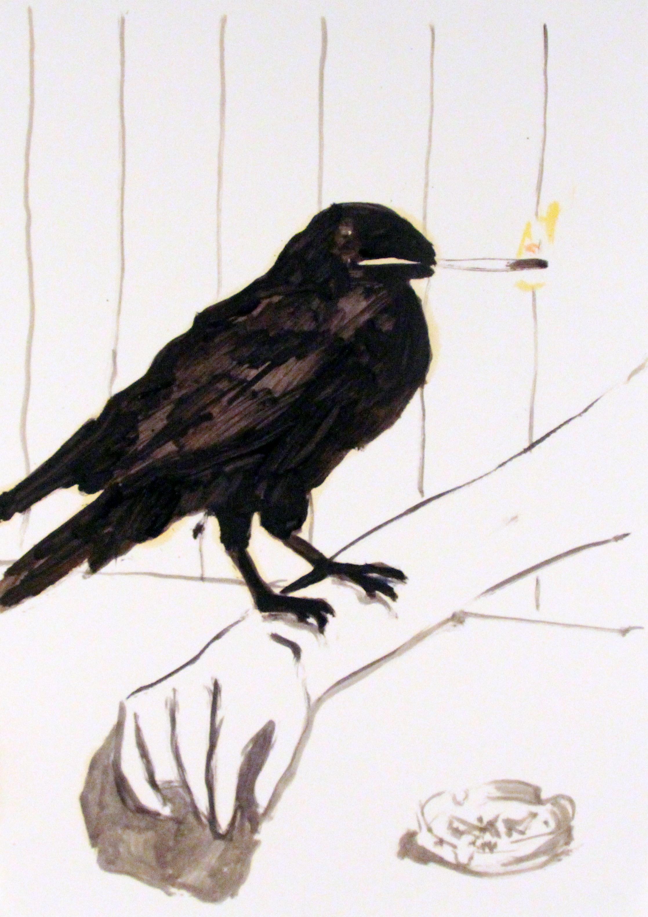 'Raven', Oil on paper, 42x29cm