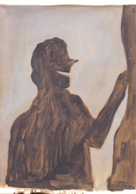 'Visitors V', Oil on paper, 25x17cm
