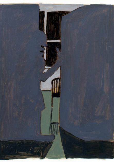 'Visitors I', Oil on paper, 25x17cm