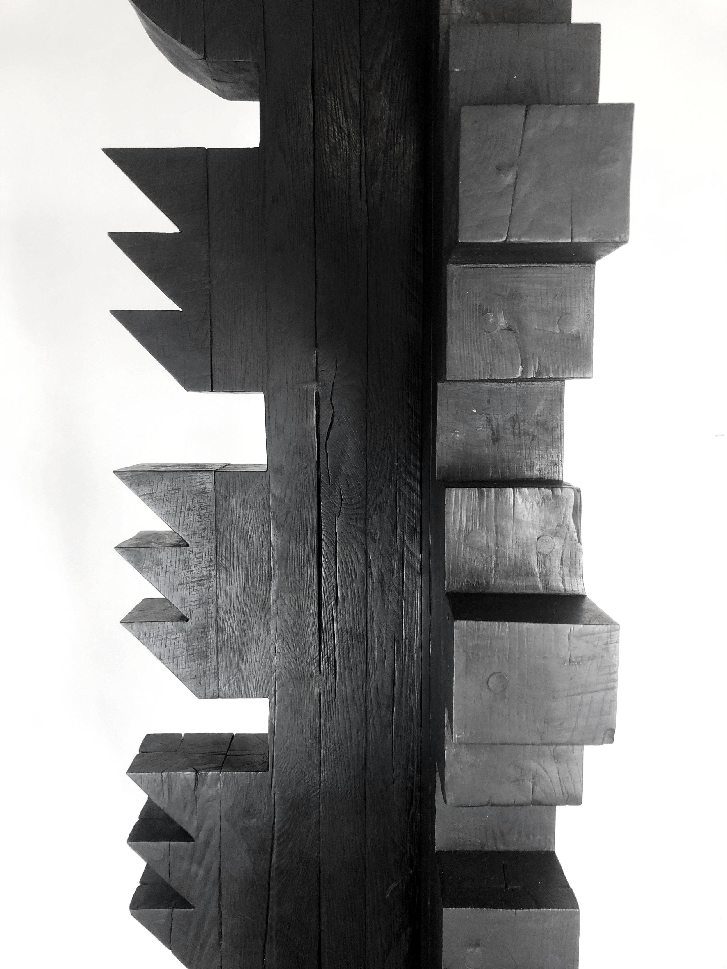 'Torr II', Burnt oak finished with wax, 195x40x40cm