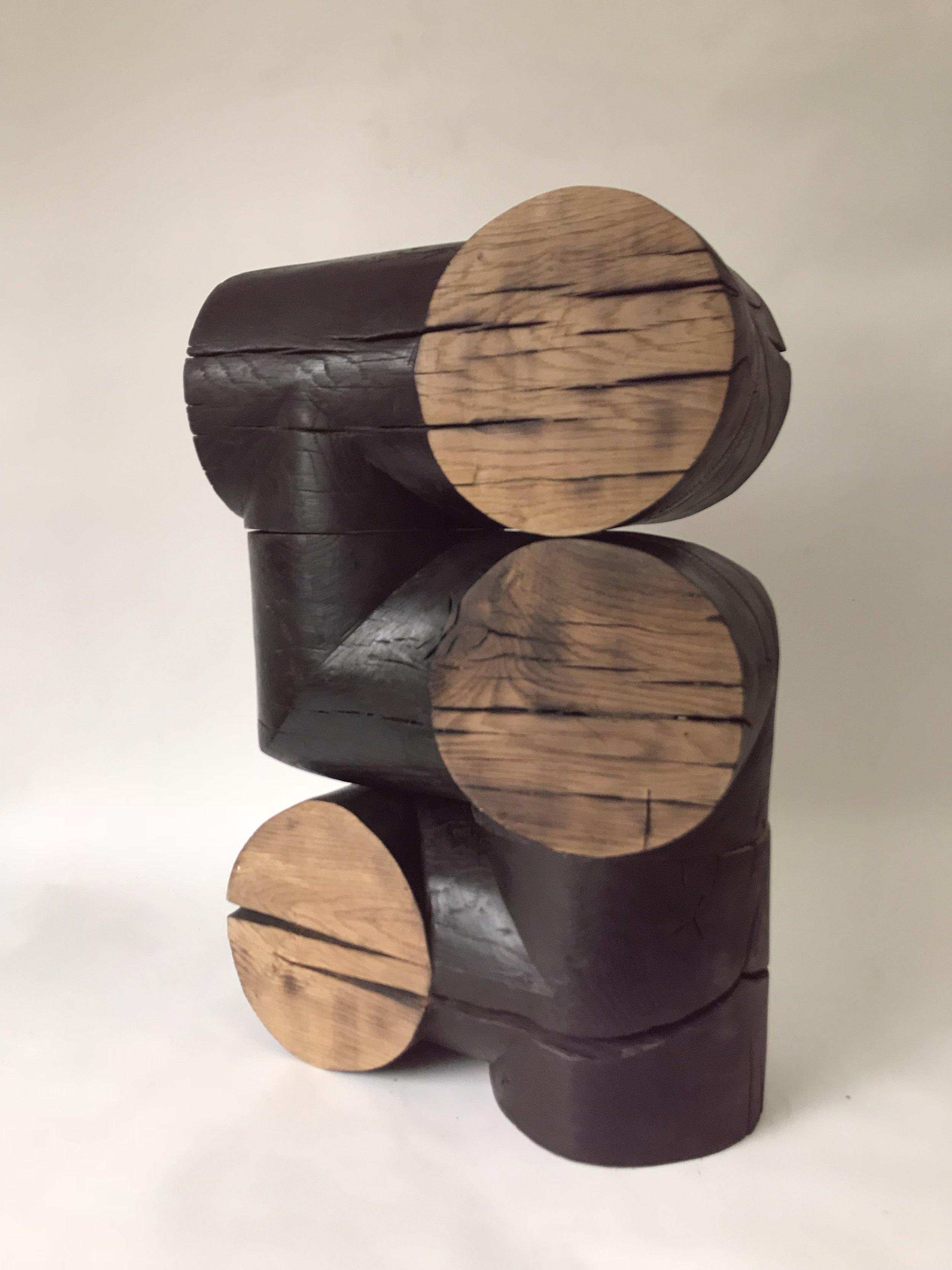 'Abacus III', Burnt wood and wax, 20x20x60cm