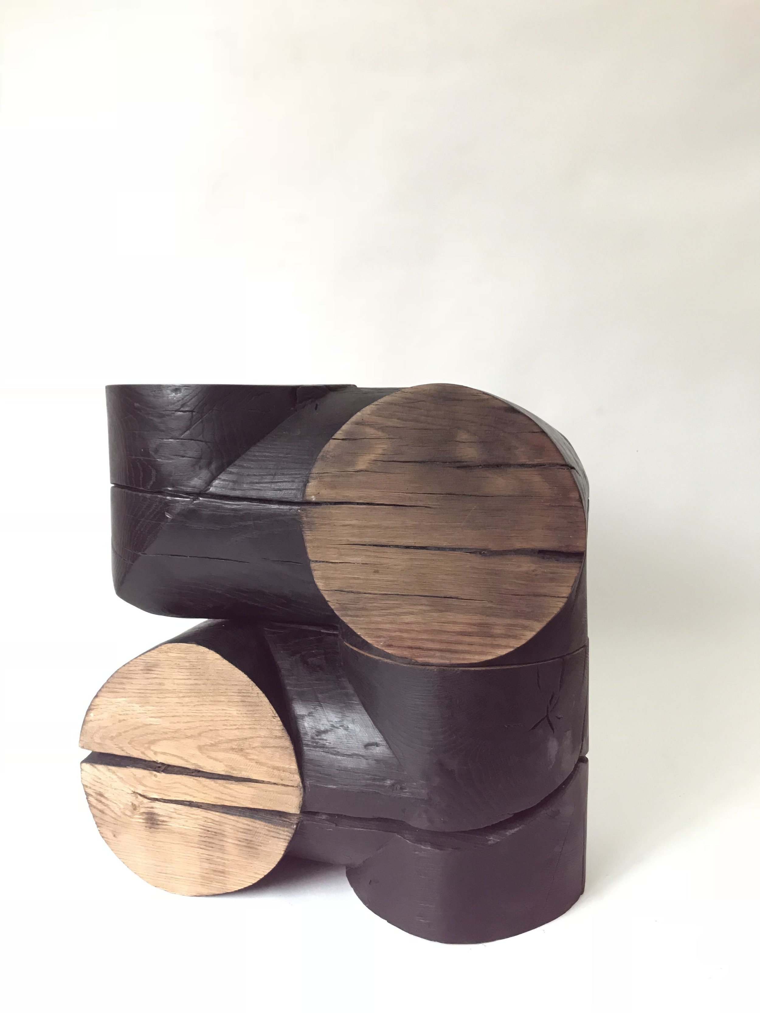 'Abacus II', Burnt wood and wax, 20x20x40cm
