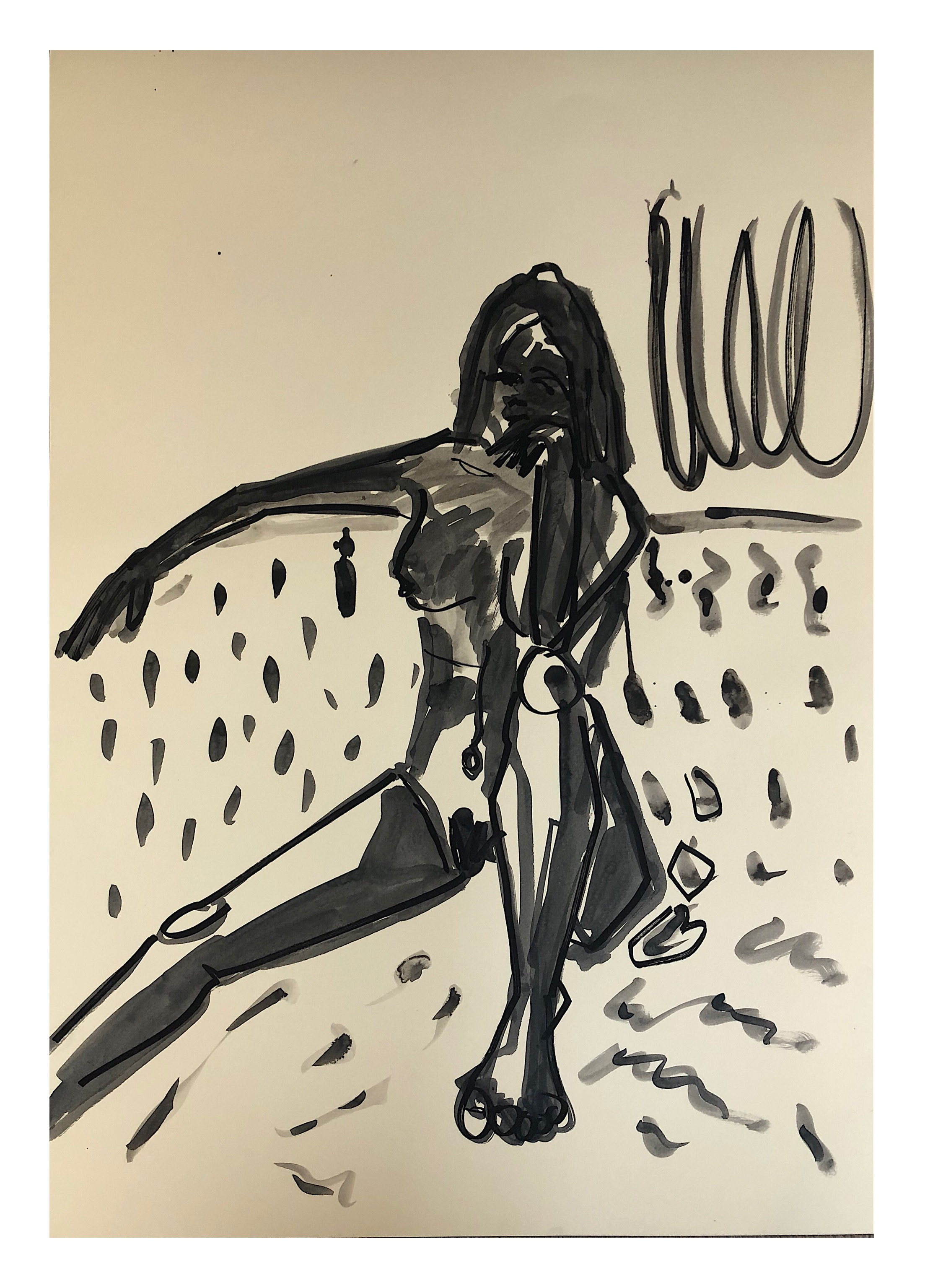 'Black Nude', Indian ink on paper, 84x59cm