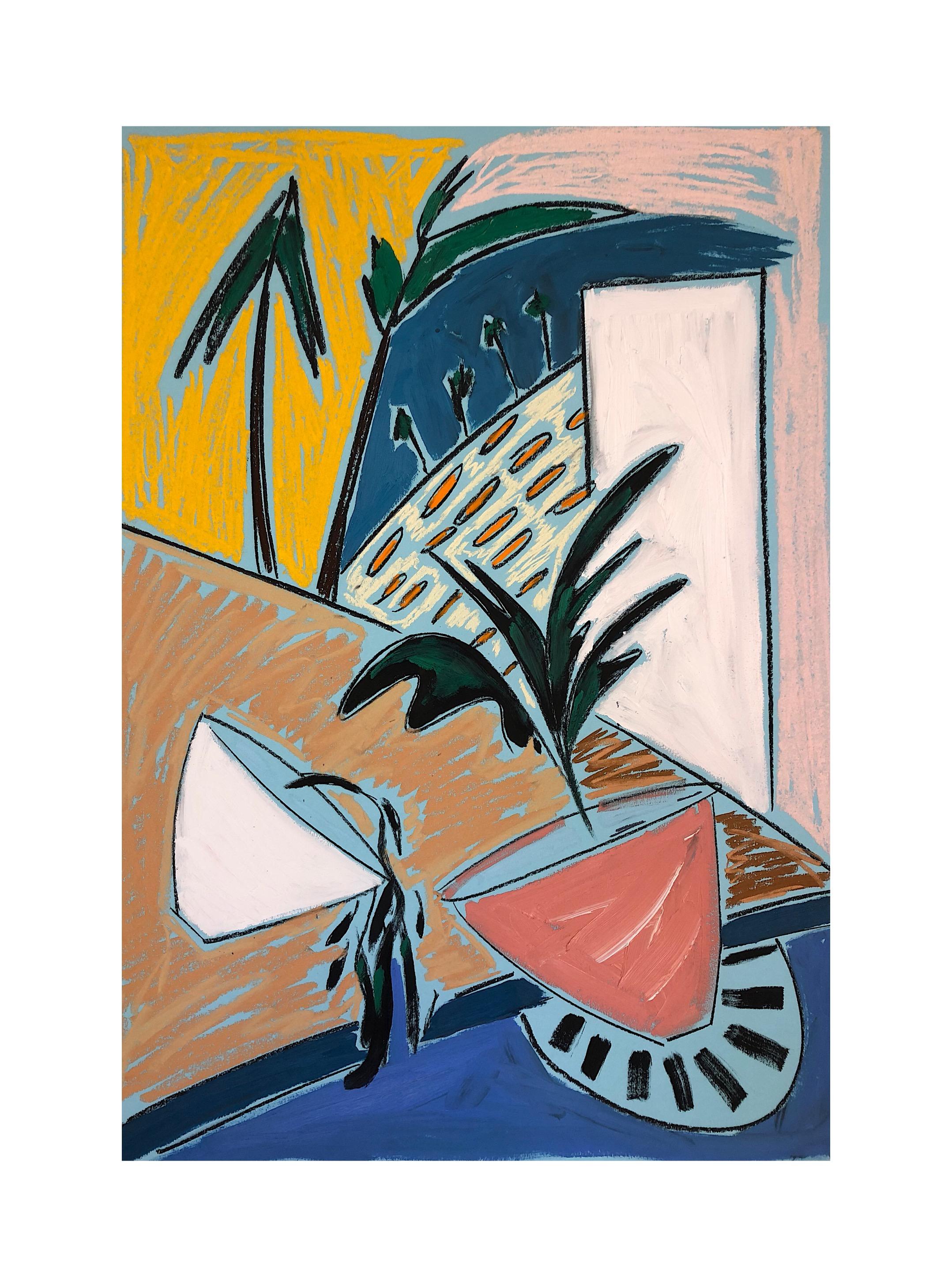'Retour aux Arbres IV', Pastels and oil paint on paper, 84x58cm