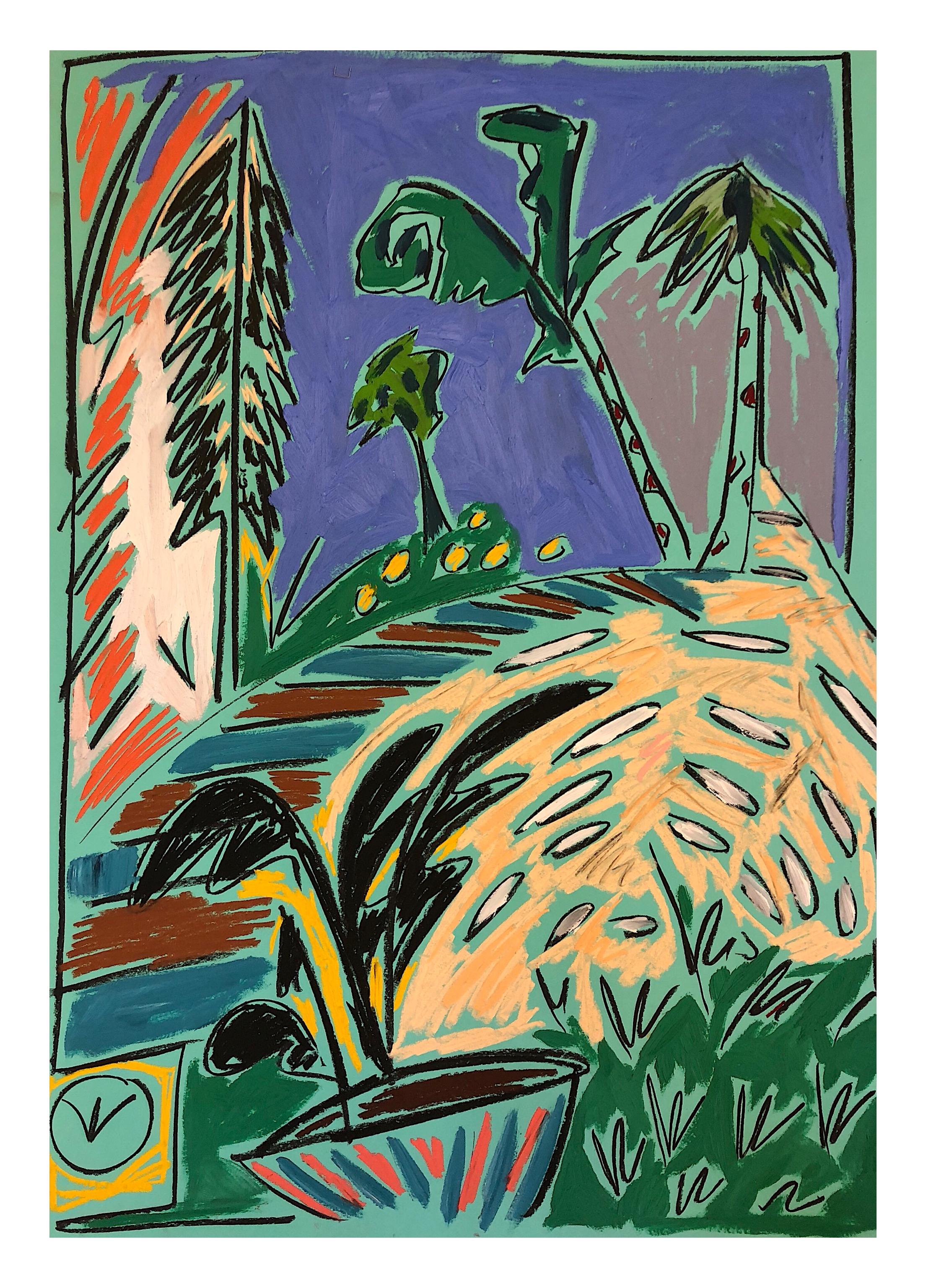 'Retour aux Arbres II', Pastels and oil paint on paper, 84x58cm