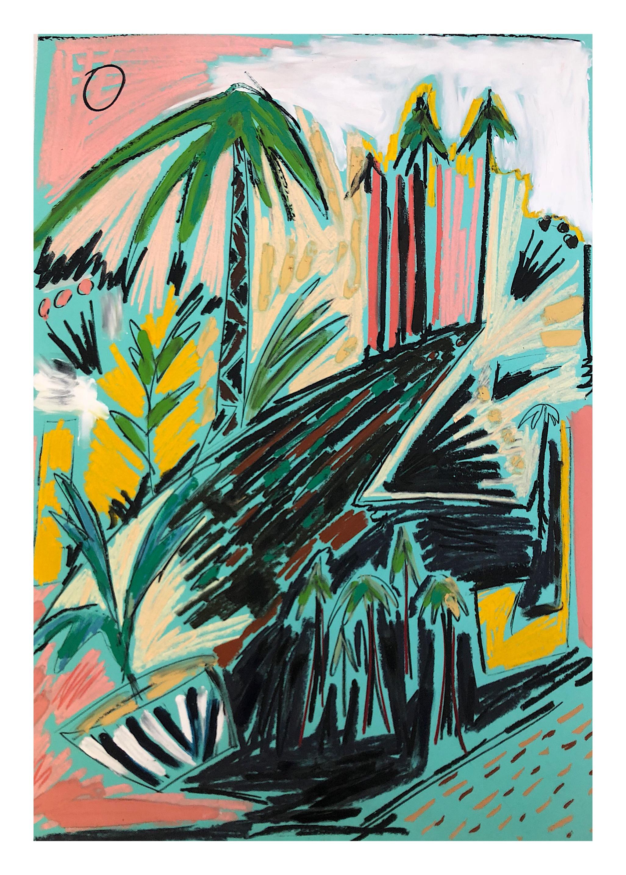 'Retour aux Arbres I', Pastels and oil paint on paper, 84x58cm