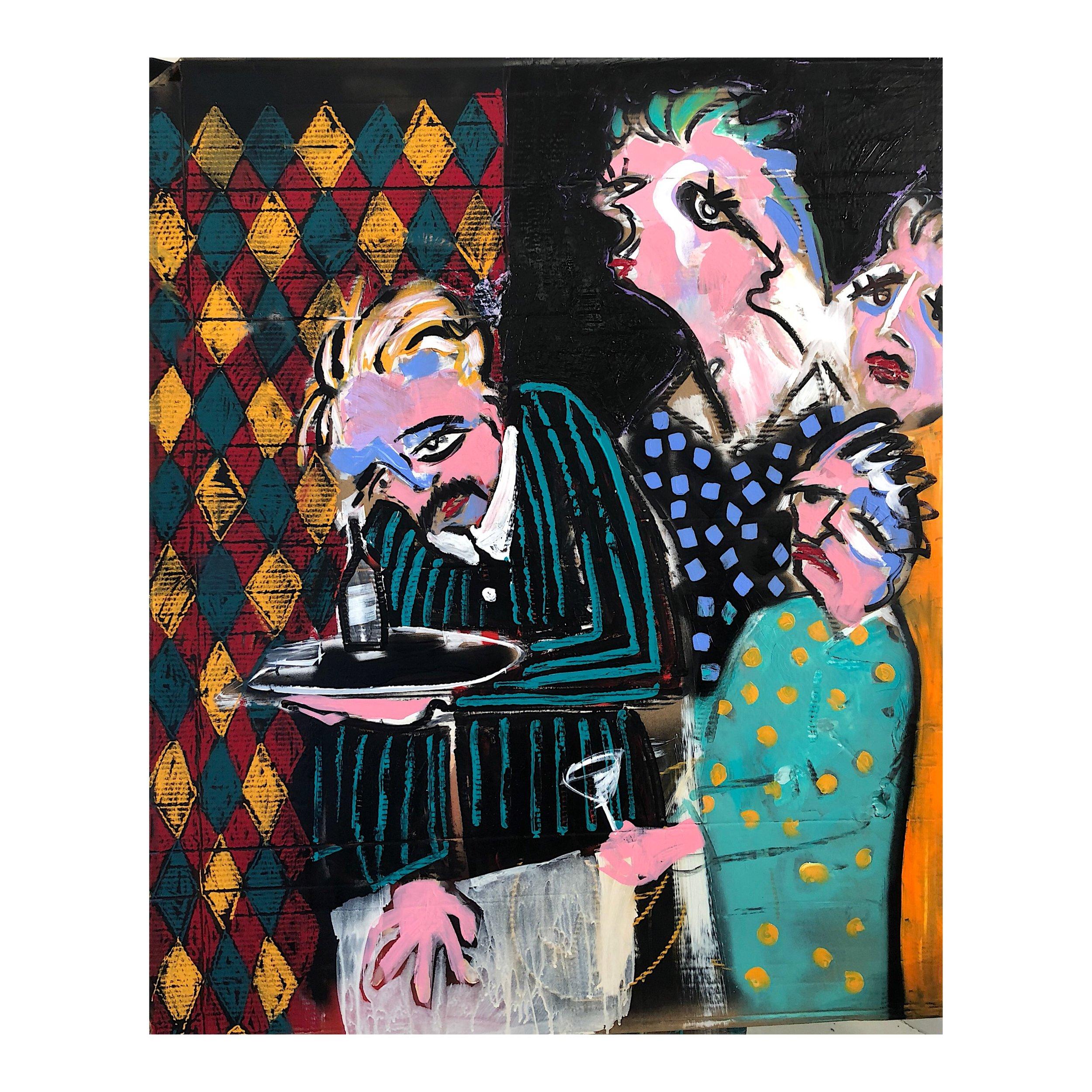 'Last Orders in Paris', Acrylic and pastel on cardboard, 100x123cm