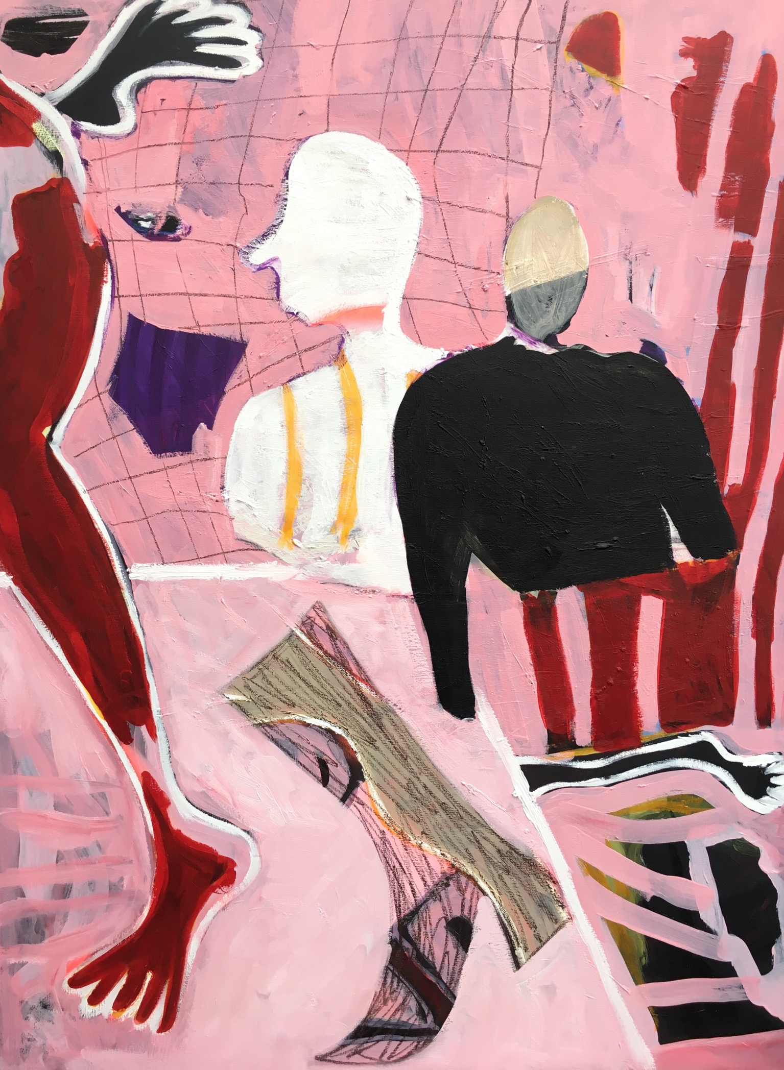'Can you please get your feet off my table', Acrylic, oil, oil bar and oil pastel on canvas, 89x120cm