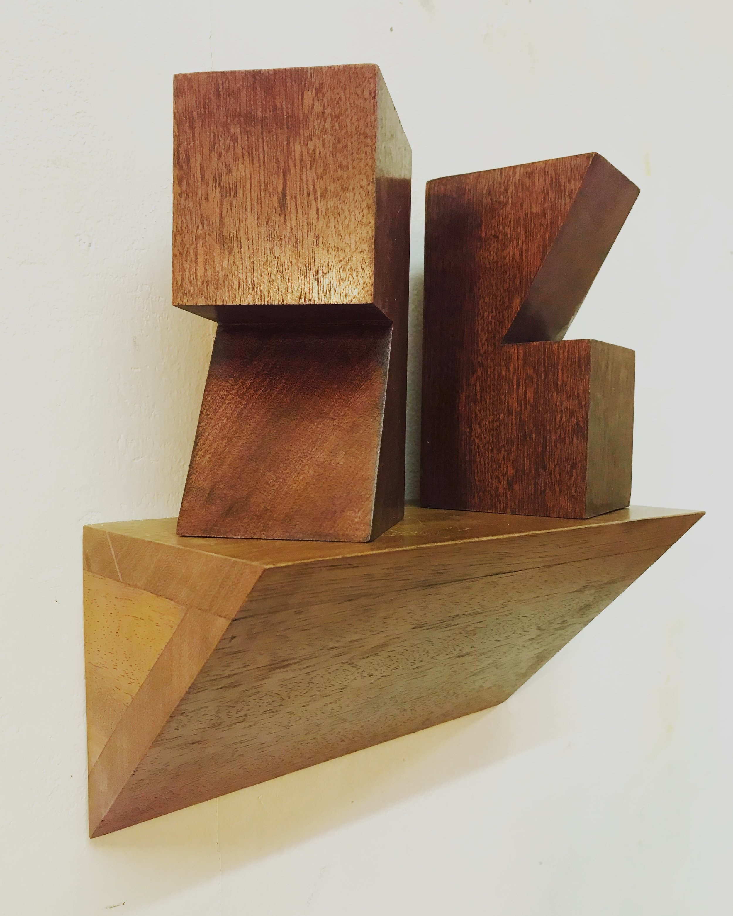 'Overlook', Sapele & Iroko wood, 25x12x30cm