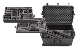 Case (3-Tier):  custom case featuring precision cut foam trays for compact and secure storage of all Wolf Pack system components.