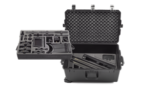 Case (2-Tier):  custom case featuring precision cut foam trays for compact and secure storage of all Wolf Pack system components.