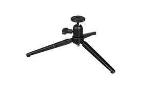 mini tripod:  Allows easy placement of compact system assemblies such as wireless transmission components inside buildings and other structures.