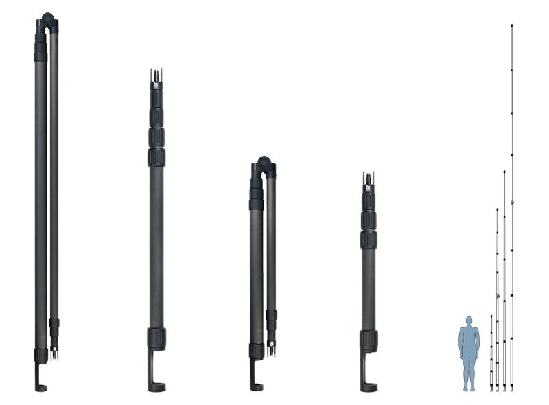 Wolf Pack E Series system poles size chart