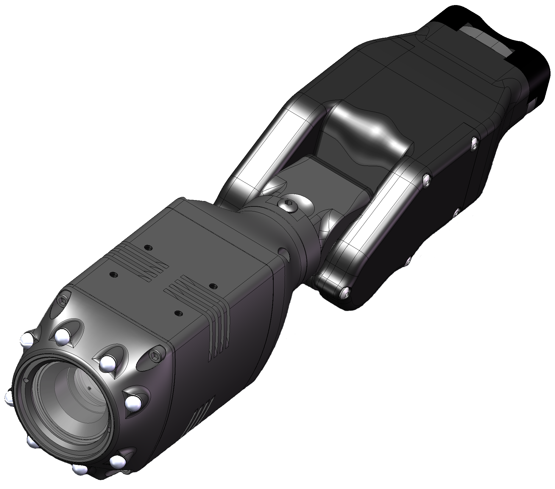 - CL-Series megapixel night vision camera with CA-Series motorized remote control articulation.