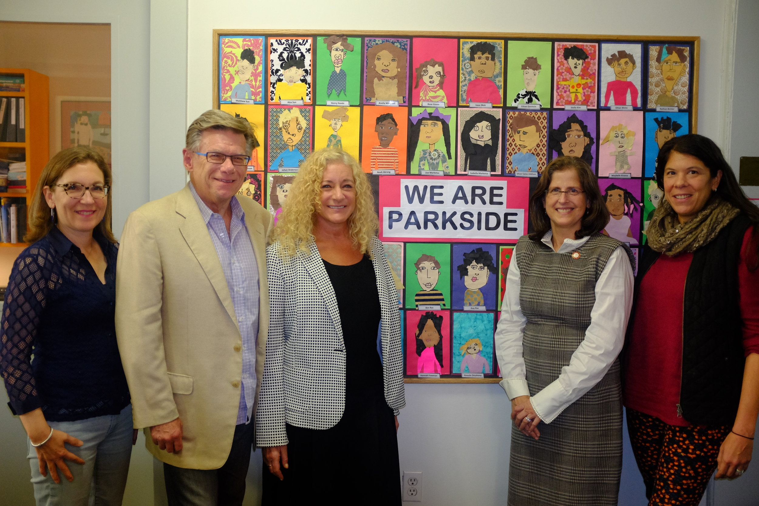 From left to right, Cindy Cardinal, Parkside Board Member, Alan Pearson, Parkside Board President, Leslie Thorne, Co-Head of School, Helen Rosenthal, City Council Member, Laurie Marshall, Parkside Parent.