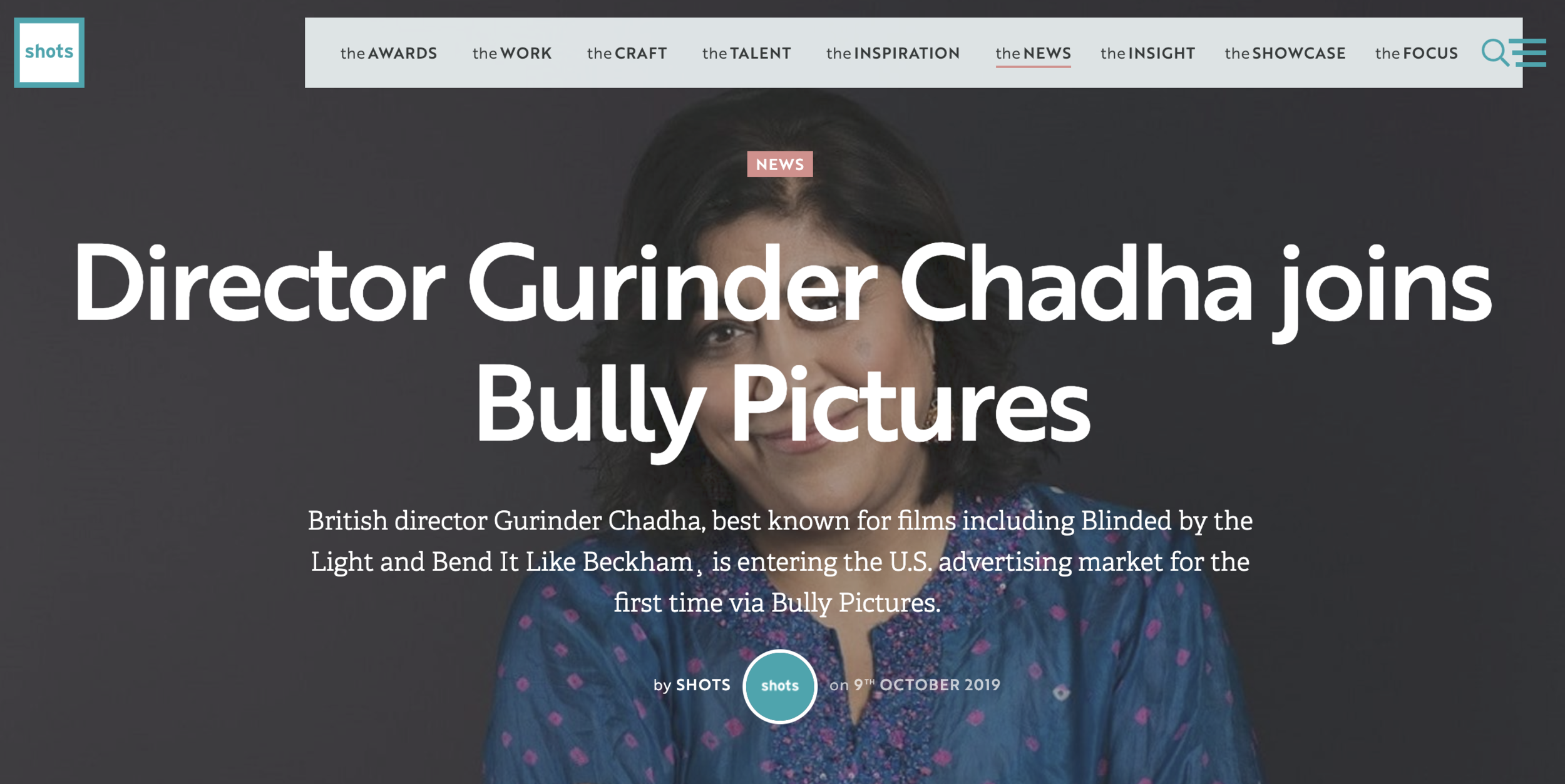 Gurinder Chadha joins Bully Pictures