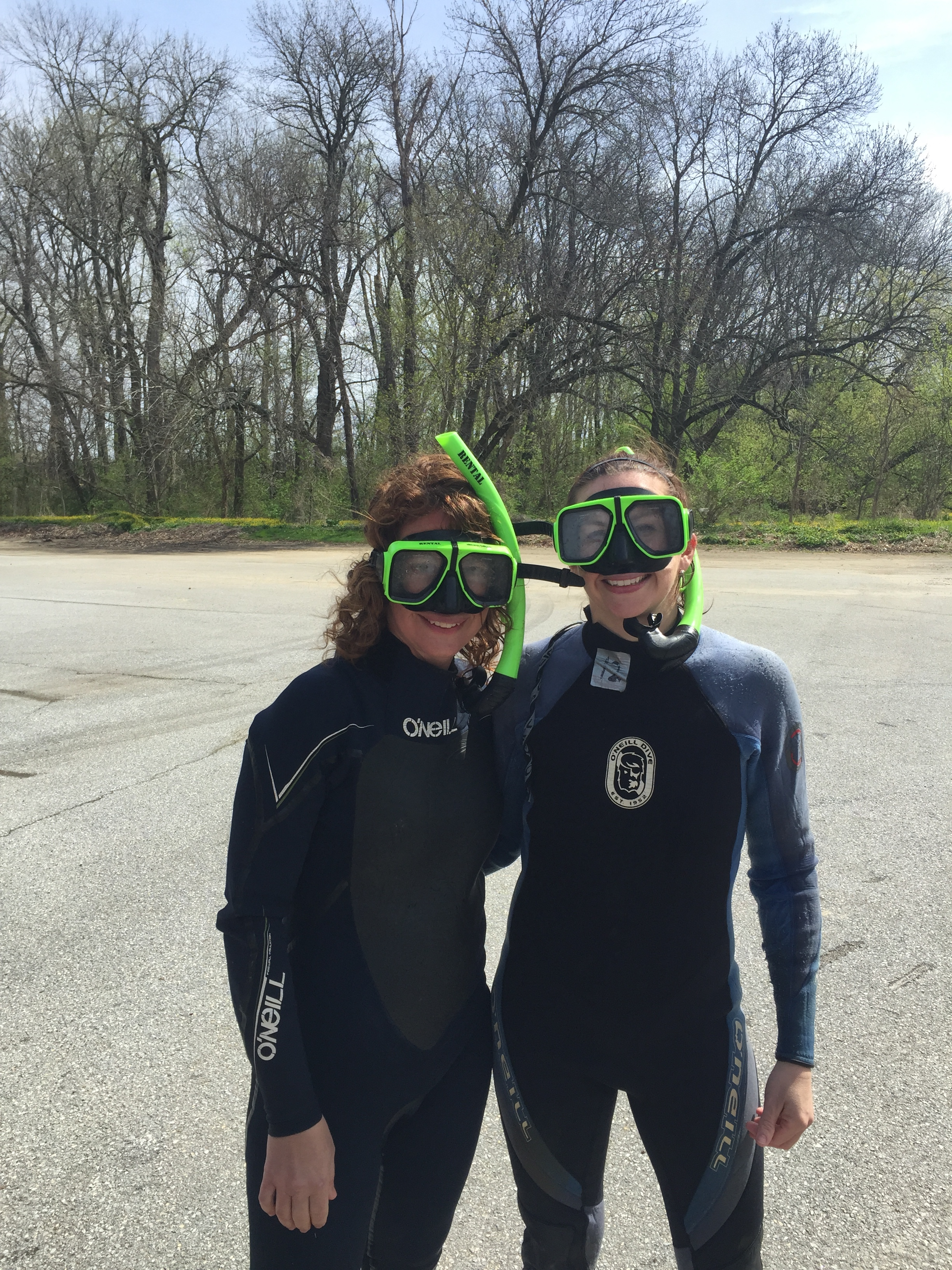 Shane Morgan and Martha Narvaez (University of Delaware Water Resources Agency) snorkeling the White Clay in search of American Shad.