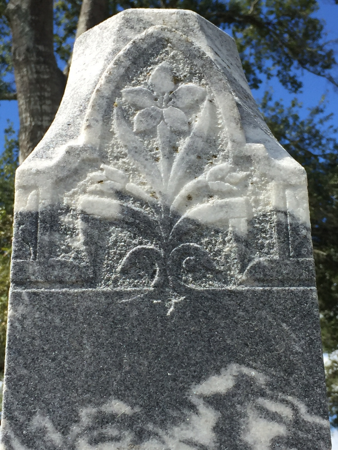 Floral details with lovely and intricate detail adorn many of the monuments at Mt. Zion