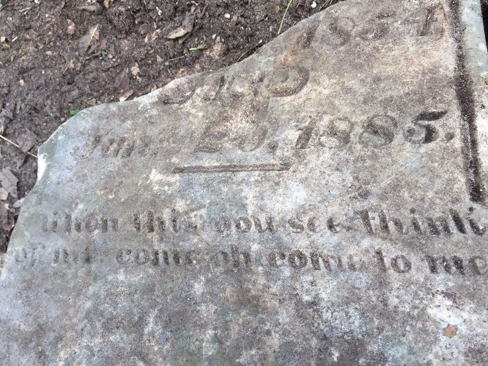 Just one of the many mysteries at Mt. Zion includes this remainder of a tombstone near the Morriss family plot
