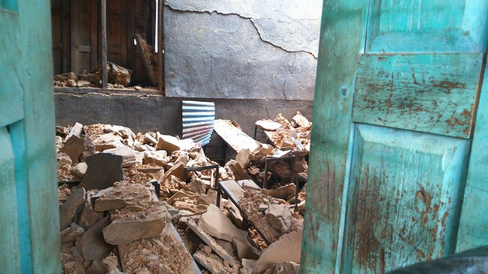 The earthquakes turned many classrooms into rubble.