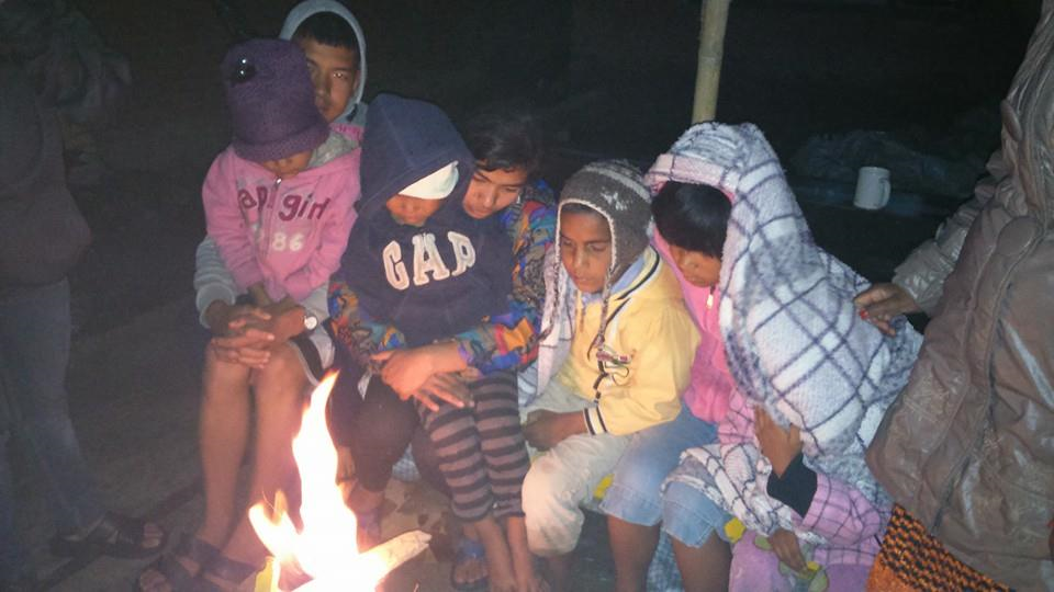 Life Vision Academy students were forced to sleep outside in the cold after the earthquake.