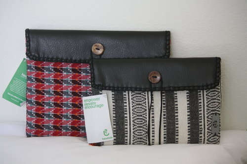 Multi-Purpose Case , $20-30 Use it as a handheld clutch, tablet sleeve, file holder, craft supplies catch-all, and more! The large case fits an iPad and the small fits an iPad Mini. Envelope closure with wooden button and rope tie. The large case is available online in five patterns of Nepali Dhaka, and the small case in two.